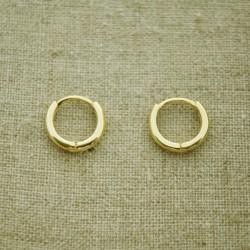 Pendientes de plata 925 chapado en oro aro de 11 mm