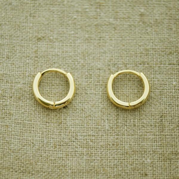 35401133509d Pendientes de plata 925 chapado en oro aro de 11 mm - Pendientes de ...