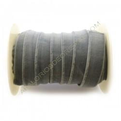 Cinta de terciopelo elástico gris de 20 mm