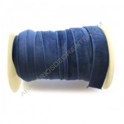 Cinta de terciopelo elástico azul mar de 20 mm