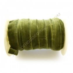 Cinta de terciopelo elástico verde de 20 mm