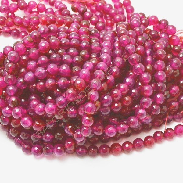 Ágata rosa fucsia redonda facetada de 8 mm