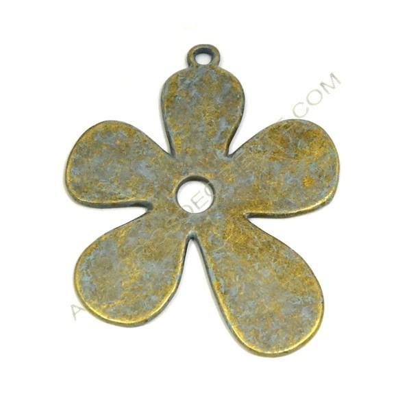 Colgante flor de aleación de Zinc efecto bronce envejecido