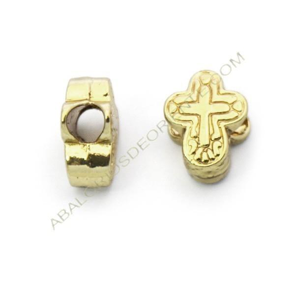 Entrepieza pasador de aleación de Zinc cruz chapado en oro