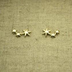 Pendientes de plata 925 chapado en oro tres estrellas