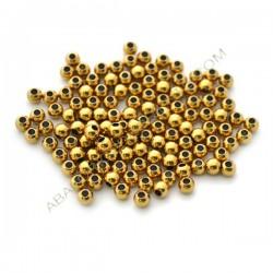Entrepieza de aleación de Zinc bola lisa chapada en oro de 4 mm