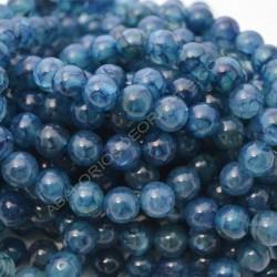 Ágata natural venas de dragón redonda azul de 10 mm