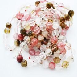 Agata facetada redonda rosa en tonos variados de 8 mm