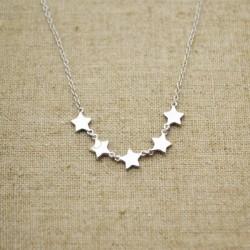 Cadena de plata 925 con cinco estrellas de 6 mm