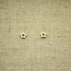 Pendientes de plata 925 chapados en oro estrella hueca de 5 mm