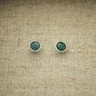 Pendientes redondos de plata 925 con piedra semipreciosa Ónix verde