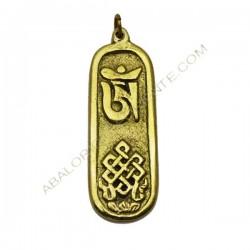 Colgante Tibetano vertical de latón con símbolo OM