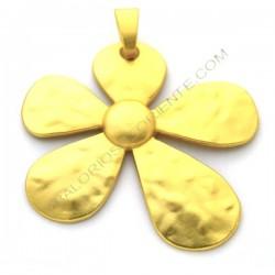 Colgante de aleación de Zinc dorado mate flor