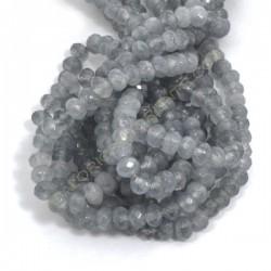 Ágata gris rondel facetada de 4 x 6 mm