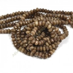 Ágata marrón rondel facetada de 4 x 6 mm