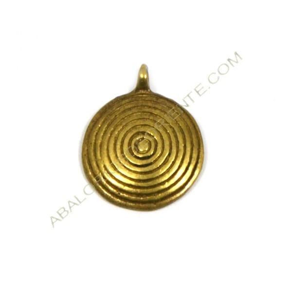 Colgante de bronce redondo espiral 24 x 19 x 4 mm