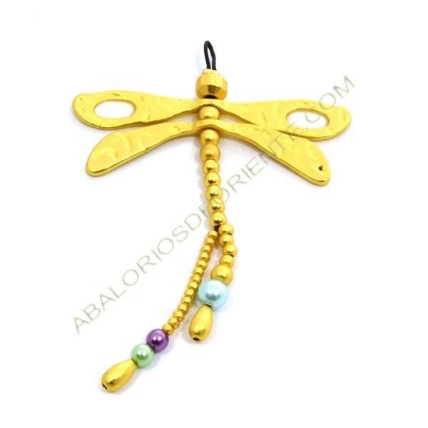 Colgante de aleación de Zinc dorado mate libélula