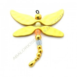 Colgante de aleación de Zinc libélula dorada mate con cristales variados