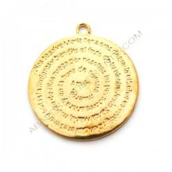 Colgante redondo dorado de aleación de Zinc con Ave María