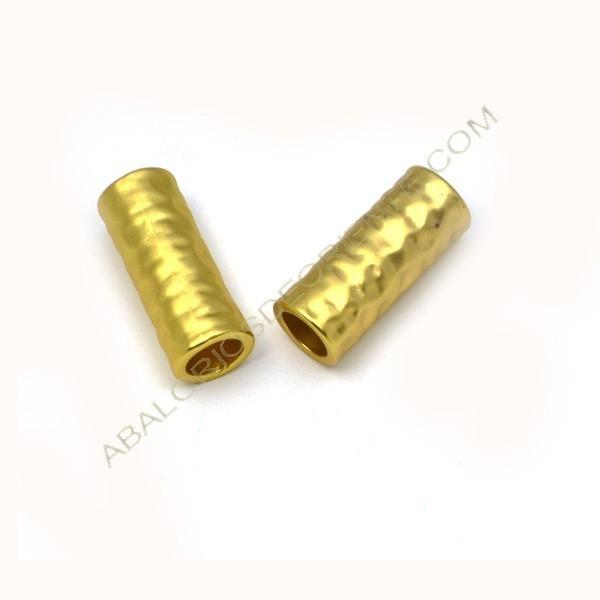 Entrepieza tubo dorado mate