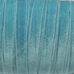 Cinta de terciopelo elástico azul turquesa 10 mm