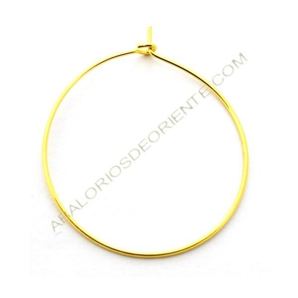 Aro para pendiente dorado 25 mm