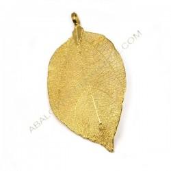 Colgante hoja natural bañada en oro de 14 K