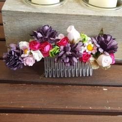 Peineta flores papel rosa y berenjena