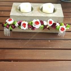 Media corona flores papel granate y verde