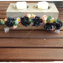 Media corona flores papel negro, rosa