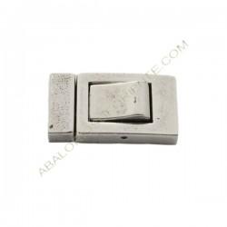 Cierre magnético Zamak rectangular plata liso