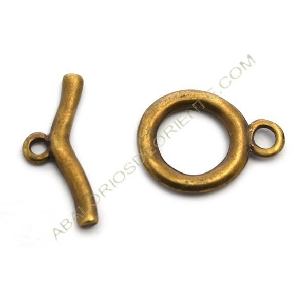 Cierre de metal dos partes redondo oro viejo