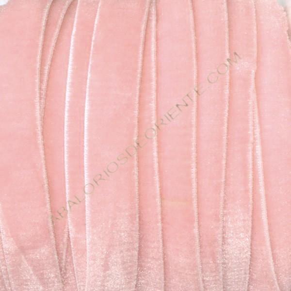 Cinta de terciopelo elástico rosa bebé