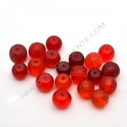 Cuenta de vidrio reciclado rojo anaranjado 8-10 mm