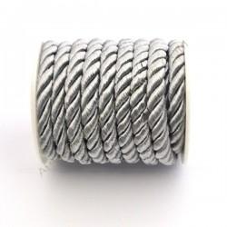 Cordón trenzado de algodón plata 4 mm