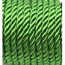 Cordón trenzado de algodón verde esmeralda 6 mm