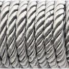 Cordón trenzado de algodón plata 6 mm