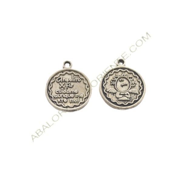 Medalla de metal redonda plateada de Angelito