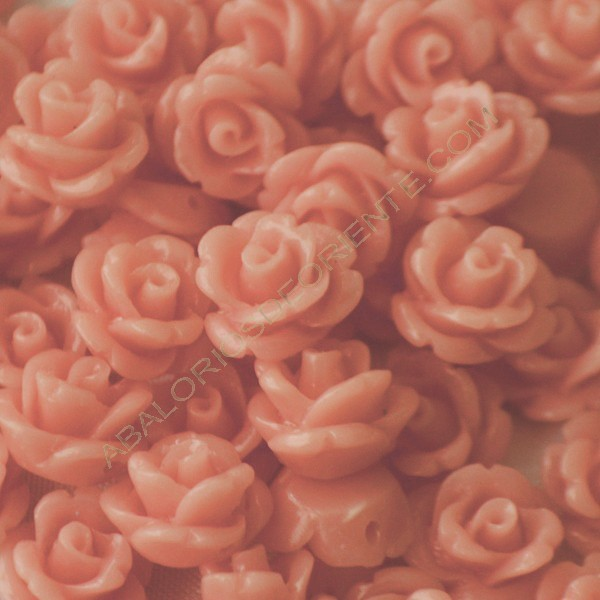 Flor resina salmón 10 x 7 mm