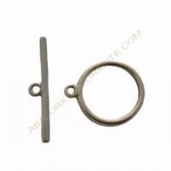 Cierre de Zamak plateado dos partes círculo y bastón