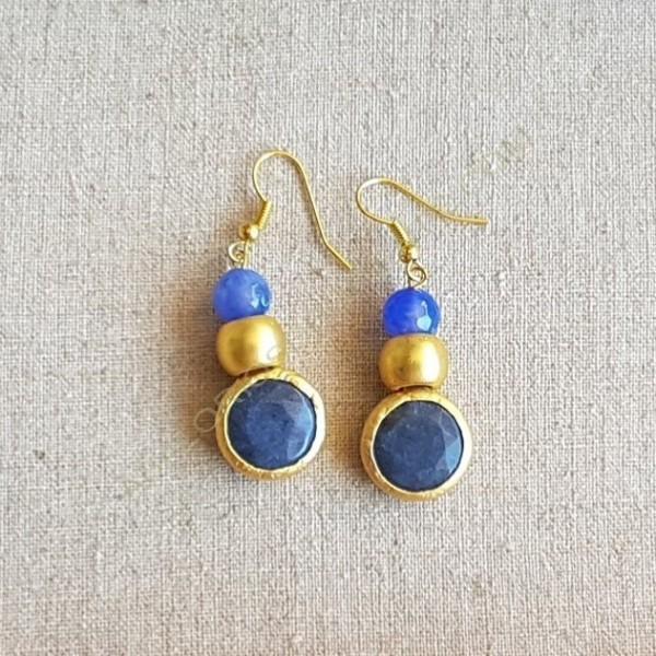b72139135d64 Pendientes ágatas azules - Pendientes de bisutería