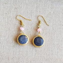 Pendientes ágatas azul y rosa