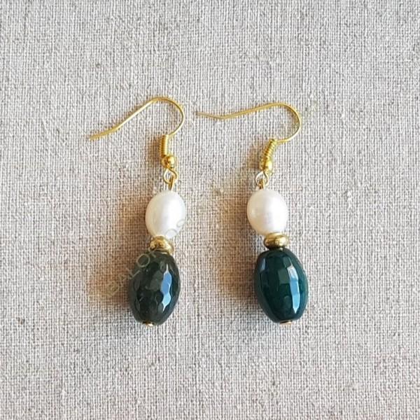 Pendientes ágatas verdes y perlas