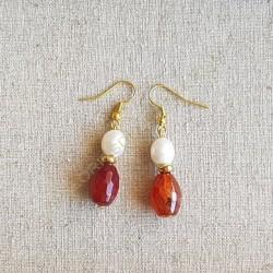 Pendientes ágatas granate y perlas