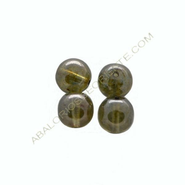 Cuenta de cristal de Bohemia bola verde de 10 mm