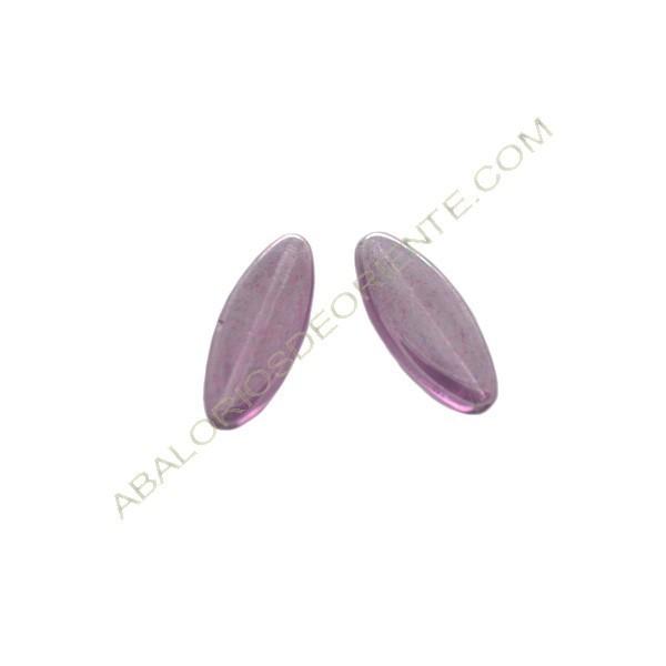 Cuenta de cristal de Bohemia oval plana amatista 20 x 8 x 4 mm