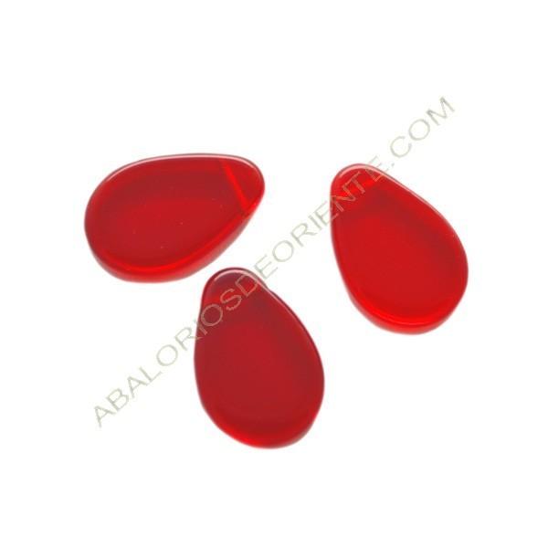 Cuenta de cristal de Bohemia lágrima plana roja 18 x 12 mm