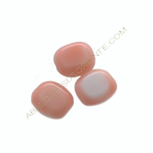 Cuenta de cristal de Bohemia rectangular plana rosa y blanca 14 x 12 x 6 mm