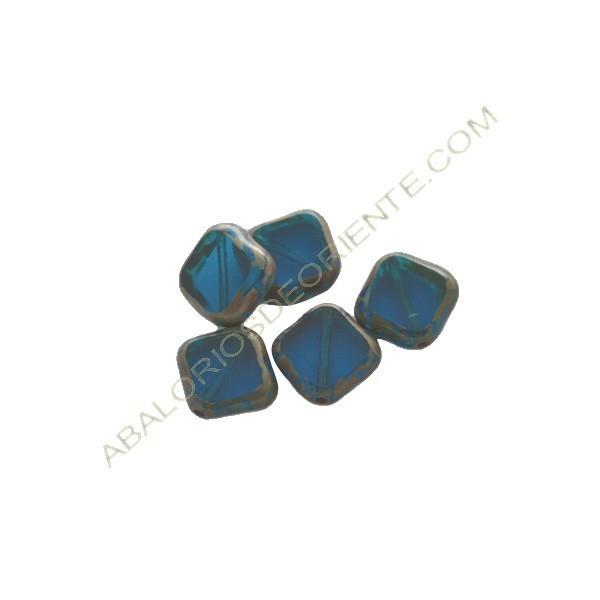 Cuenta de cristal de bohemia rombo azul 12 mm