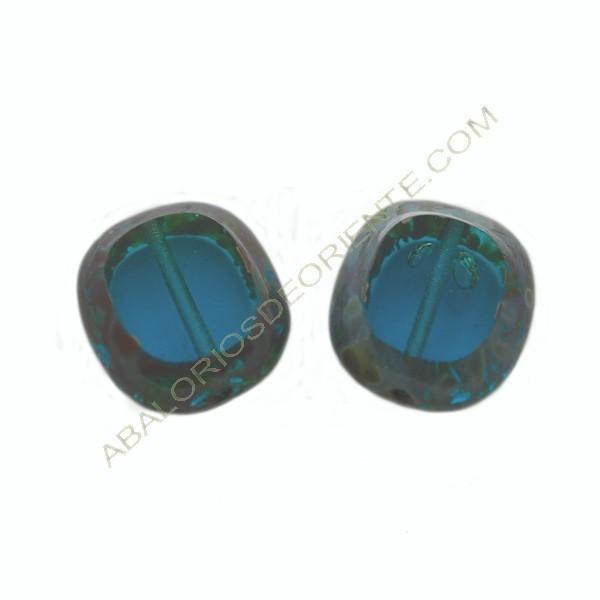 Cuenta de cristal de Bohemia rectangular plana azul 17 x 15 mm